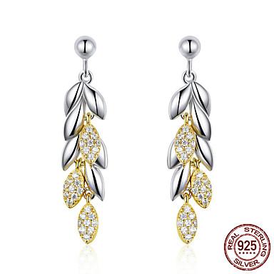 baratos Bijuteria de Mulher-925 prata esterlina brincos de gota de trigo original para as mulheres cor de ouro folhas de trigo brincos jóias de prata esterlina bse025