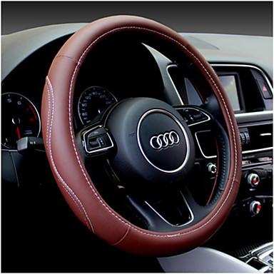 voordelige Auto-interieur accessoires-universeel stuur lederen sportwagen stuurhoes universele 38cm wieldoppen auto-accessoires
