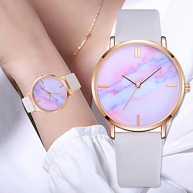 baratos Relógios Homem-Mulheres Relógios de Quartzo Fashion Colorido Preta Branco Azul Couro PU Quartzo Preto Branco Azul Céu Relógio Casual 1 Pça. Analógico Um ano Ciclo de Vida da Bateria / Aço Inoxidável
