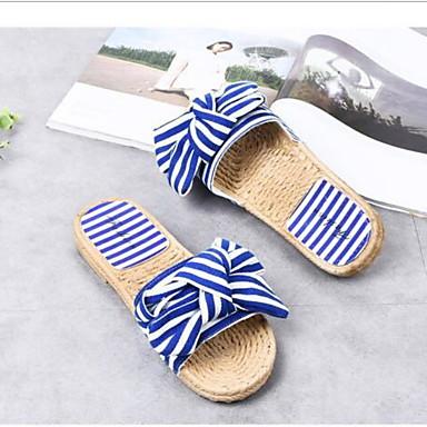 voordelige Damespantoffels & slippers-Dames Slippers & Flip-Flops Platte hak Ronde Teen Strik Canvas Zomer Zwart / Blauw