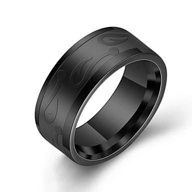 voordelige Herensieraden-Heren Ring 1pc Goud Zwart Zilver Titanium Staal Rond Casual / Sporty Dagelijks Sieraden Vintagestijl Bloem Schattig