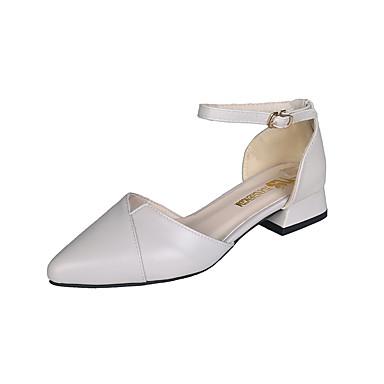 Kadın's Sandaletler Düşük Topuk Sivri Uçlu PU / Sentetikler Sonbahar / İlkbahar yaz Siyah / Açık Gri / Badem