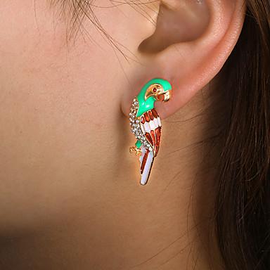 hesapli Moda Küpeler-Kadın's Küpe Geometrik Kuş Küpeler Mücevher Yeşil Uyumluluk Günlük 2pcs
