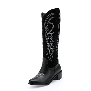 povoljno Ženske čizme-Žene Čizme Kockasta potpetica Okrugli Toe PU / Sintetika Čizme do koljena Jesen zima Crn / Braon