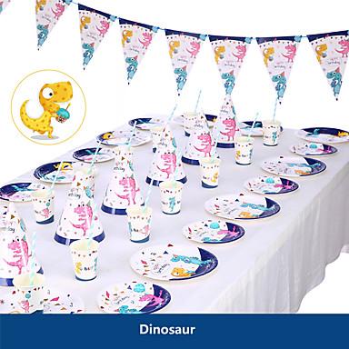 voordelige Feestbenodigdheden-baby shower verjaardagsfeest dinosaurus thema feest decoratie benodigdheden eenhoorn papieren beker bord servies benodigdheden