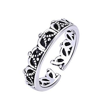 voordelige Herensieraden-Heren Dames Ring 1pc Zilver Koper Cirkelvormig Vintage Standaard Modieus Lahja Feestdagen Sieraden Kroon Schattig