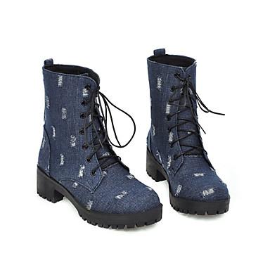 voordelige Dameslaarzen-Dames Laarzen Blokhak Ronde Teen Denim / PU Kuitlaarzen Herfst winter Zwart / Lichtblauw / Donkerblauw