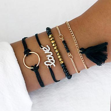 abordables Bracelet-5pcs Bracelet à Perles Bracelets Vintage Boucles d'oreilles / Bracelet Femme Multirang Noir Forme de Lettres Tissage Chanceux Rétro Vintage Tendance Ethnique Mode Bohème Bracelet Bijoux Noir
