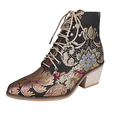voordelige Dameslaarzen-Dames Laarzen Blokhak Ronde Teen Canvas Kuitlaarzen Herfst winter Regenboog