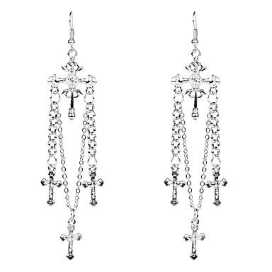 voordelige Dames Sieraden-Dames Zilver Druppel oorbellen Kruiselings Kruis Vintage Europees Oversized S925 Sterling Zilver oorbellen Sieraden Zilver Voor Dagelijks 1 paar