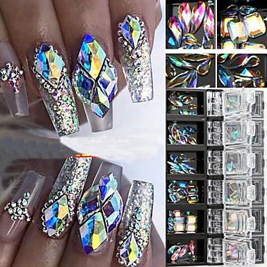billige Strass og dekorasjoner-3d ab diamantperler neglglitter rhinestone krystallglass neglekunstdekor 12 bokser