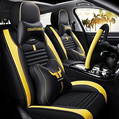 voordelige Auto-interieur accessoires-5 stks / set cartoon auto zitkussen vier seizoenen universele volledige auto stoelhoezen compatibel airbag twee hoofdkussens en twee taille rest