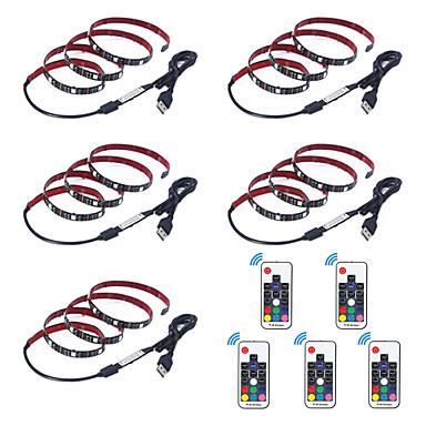 billige LED Strip Lamper-1m Fleksible LED-lysstriper / RGB-lysstriper / Fjernkontroller 30 LED SMD5050 17-nøkkel fjernkontroll Multifarget Vanntett / USB / Fest 5 V 5pcs