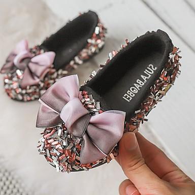 baratos Kids' Flats-Para Meninas Couro Ecológico Rasos Little Kids (4-7 anos) Sapatos para Daminhas de Honra Preto / Rosa claro / Cinzento Outono