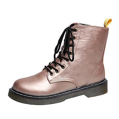 voordelige Dameslaarzen-Dames Laarzen Lage hak Ronde Teen Strass PU Kuitlaarzen Informeel Wandelen Herfst winter Zwart / Paars / Lichtbruin