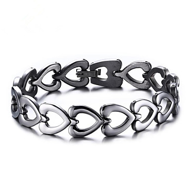 cheap Bracelets-Men's Women's Chain Bracelet Hollow Out Heart Stylish Stainless Steel Bracelet Jewelry Silver For Daily