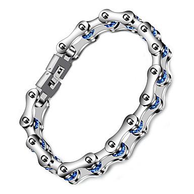 voordelige Herensieraden-Heren Dames Blauw Armband Schakelketting Fietsen Punk Roestvast staal Armband sieraden Zilver Voor Lahja Dagelijks Straat Club