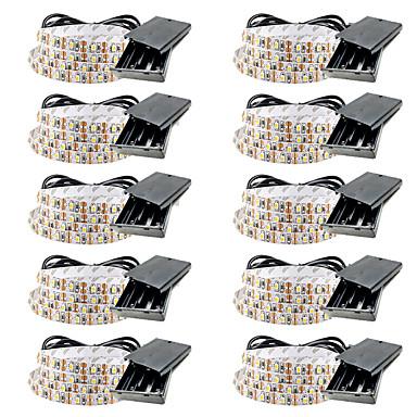 billige LED Strip Lamper-0,5m batterier fleksible led lysstrimler 30 leds smd3528 5mm varm hvit / hvit / rød vanntett / fest / dekorative batterier drevet 10stk