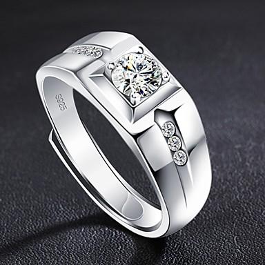 voordelige Herensieraden-Heren Ring Open Ring 1pc Zilver Koper Cirkelvormig Standaard Koreaans Modieus Bruiloft Belofte Sieraden