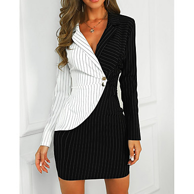 cheap New Arrivals-Women's Mini Slim Sheath Dress - Color Block Shirt Collar Black White S M L XL