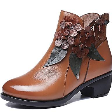 voordelige Dameslaarzen-Dames Laarzen Lage hak Ronde Teen Leer Korte laarsjes / Enkellaarsjes Herfst winter Zwart / Geel / Grijs