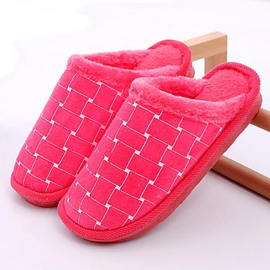 voordelige Damespantoffels & slippers-Dames Slippers & Flip-Flops Platte hak Ronde Teen Imitatiebont Informeel Winter Rood / Roze