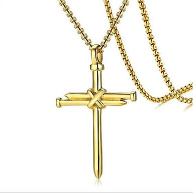 billige Mote Halskjede-Herre Anheng Halskjede geometriske Kors Mote Titanium Stål Svart Gull Sølv 60 cm Halskjeder Smykker 1pc Til Daglig Ferie