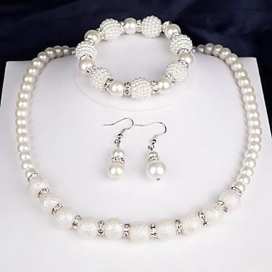 voordelige Dames Sieraden-Dames Ketting Oorbel Armband Modieus Imitatieparel Gesimuleerde diamant oorbellen Sieraden Wit Voor Dagelijks Festival 1 set