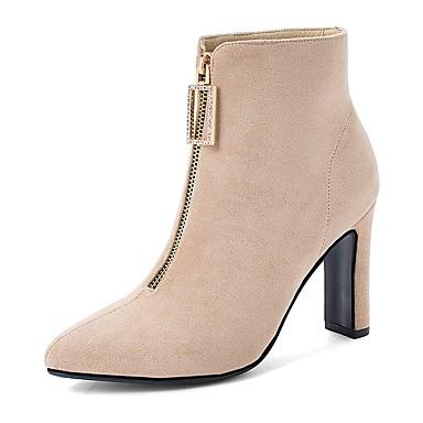 voordelige Dameslaarzen-Dames Laarzen Blokhak Gepuntte Teen Schapenleer Korte laarsjes / Enkellaarsjes Informeel / minimalisme Winter Zwart / Bruin / Beige