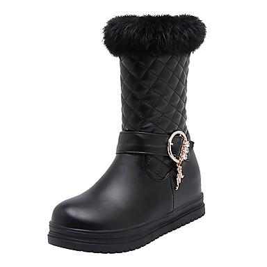 voordelige Dameslaarzen-Dames Laarzen Creepers Ronde Teen PU Herfst winter Zwart / Wit / Roze
