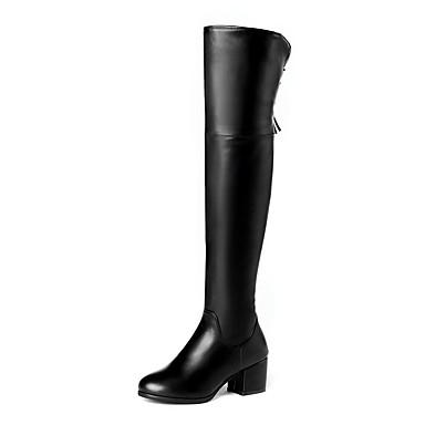 voordelige Dameslaarzen-Dames Laarzen Blokhak Ronde Teen PU Herfst winter Zwart / Beige