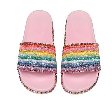 voordelige Damespantoffels & slippers-Dames Slippers & Flip-Flops Platte hak Peep Toe PVC Zomer Wit / Roze