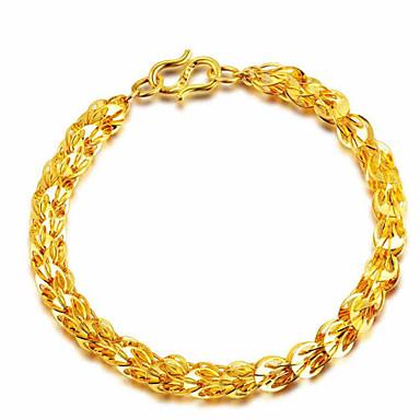 voordelige Herensieraden-Heren Dames Armbanden met ketting en sluiting meetkundig Bloem Modieus Koper Armband sieraden Goud Voor Lahja Dagelijks