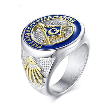 voordelige Herensieraden-Heren Ring 1pc Zilver Titanium Staal Geometrische vorm Modieus Feest Feestdagen Sieraden Klassiek Geloof Cool