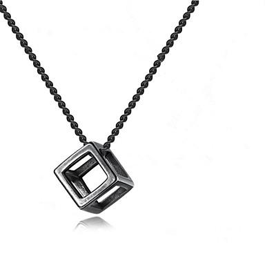 voordelige Herensieraden-Heren Hangertjes ketting meetkundig Bloem Modieus Kromi Zwart Zilver 55+5 cm Kettingen Sieraden 1pc Voor Lahja Dagelijks