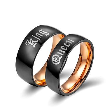 voordelige Dames Sieraden-Voor Stel Bandring 2pcs Goud Titanium Statement Klassiek Europees Bruiloft Verloving Sieraden Letter