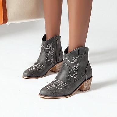 voordelige Dameslaarzen-Dames Laarzen Blokhak Ronde Teen PU Kuitlaarzen Winter Zwart / Bruin / Groen