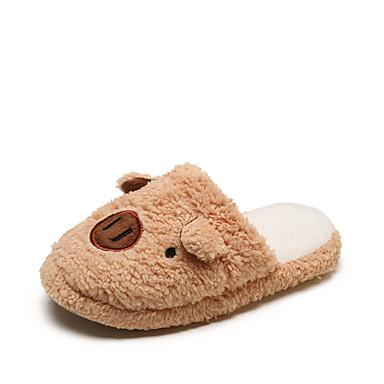 voordelige Damespantoffels & slippers-Dames Slippers & Flip-Flops Platte hak Ronde Teen Imitatiebont Zoet Winter Roze / Khaki