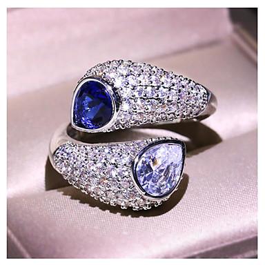 billige Motering-Dame Ring 1pc Blå Messing Geometrisk Form Mote Daglig Ferie Smykker geometriske Stjerne Kul