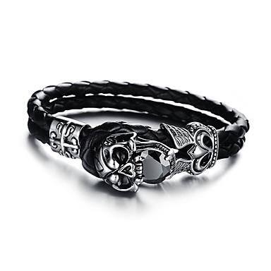 voordelige Herensieraden-Heren Dames Armband Gevlochten Schedel Statement Punk modieus Rock Steampunk Titanium Staal Armband sieraden Zwart Voor Carnaval