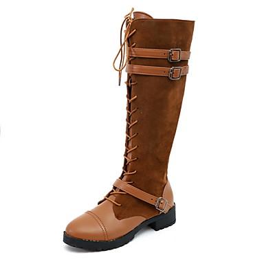 voordelige Dameslaarzen-Dames Laarzen Lage hak Ronde Teen PU Kuitlaarzen Herfst winter Zwart / Lichtbruin / Donker Bruin