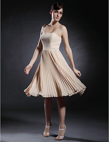 A-Linie Trägerlos Sweetheart Knie-Länge Chiffon Stretch - Satin Cocktailparty Abschlussball Kleid mit Plissee durch TS Couture®