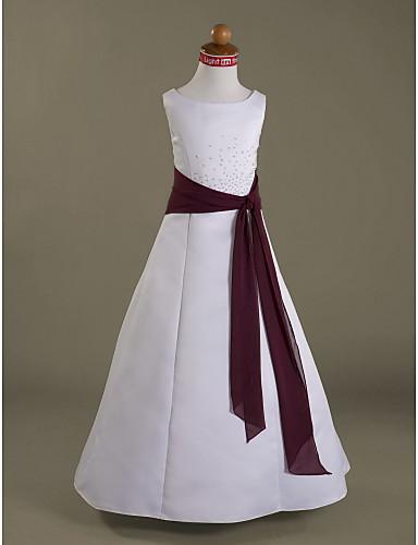 Γραμμή Α / Πριγκίπισσα Μακρύ Φόρεμα για Κοριτσάκι Λουλουδιών - Σιφόν / Σατέν Αμάνικο Scoop Neck με Χάντρες / Ζώνη / Κορδέλα / Βολάν με LAN TING BRIDE® / Άνοιξη / Καλοκαίρι / Φθινόπωρο / Χειμώνας