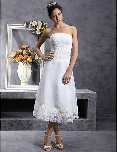 A-linje Axelbandslös Telång Organza Bröllopsklänningar tillverkade med Spets av LAN TING BRIDE® / Liten vit klänning