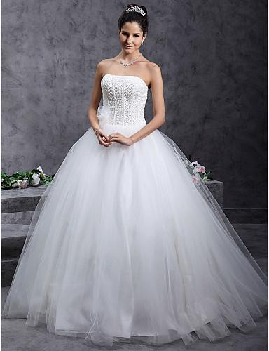 Salón Sin Tirantes Hasta el Suelo Tul Vestidos de novia personalizados con Cuentas Flor por LAN TING BRIDE®