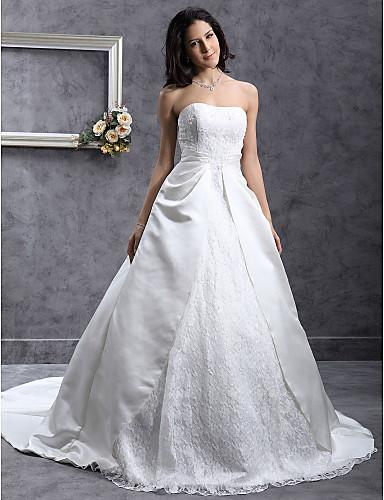 A-kroj / Princeza Srcoliki izrez Dugi šlep Čipka / Saten Izrađene su mjere za vjenčanja s Perlica / Aplikacije / Čipka po LAN TING BRIDE®