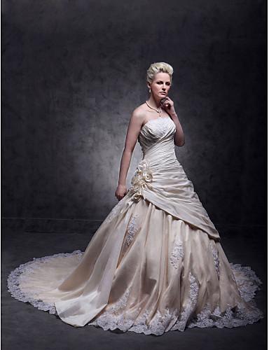 A-kroj Bez naramenica Jako dugi šlep Taft / Čipka s perlicama Izrađene su mjere za vjenčanja s Perlica / Aplikacije / Cvijet po LAN TING