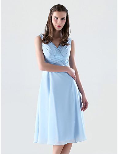 Trapèze Princesse Col en V Mi-long Mousseline de soie Robe de Demoiselle d'Honneur  avec Croisé par LAN TING BRIDE®