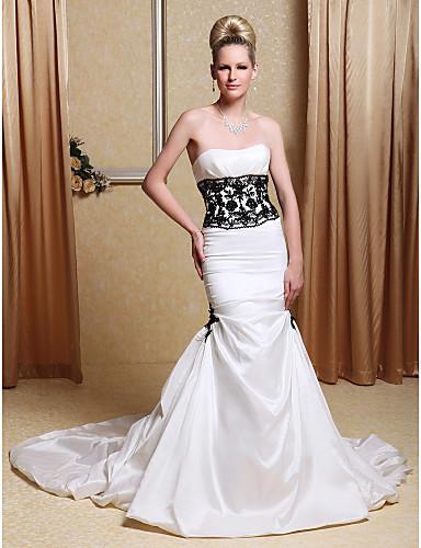 Mermaid trumpet strapless chapel train taffeta wedding for Taffeta mermaid wedding dress