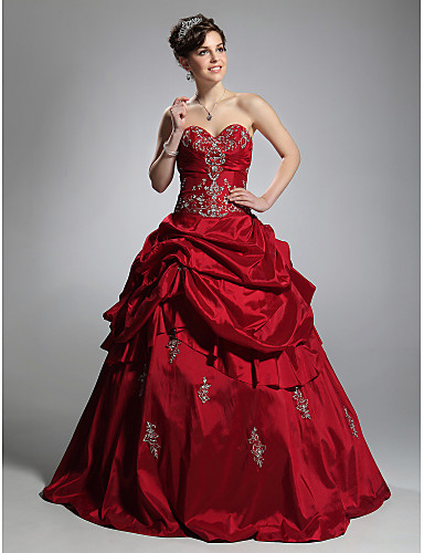 c7af7acc164 Ball Gown Sweetheart Neckline Floor Length Taffeta Formal Evening Dress  with Pick Up Skirt by TS Couture®